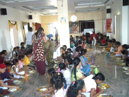 ISKCON BASE Kukatpally gita summer camp students enjoying lunch  mahaprasadam