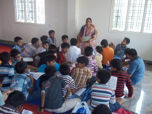 a mataji training students at gita camp